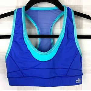 Alo Yoga Racerback Sports Bra Blue Mesh Back Sz XS